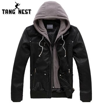 TANGNEST 2017 New Men's Leather Jacket Hooded Hat Detachable