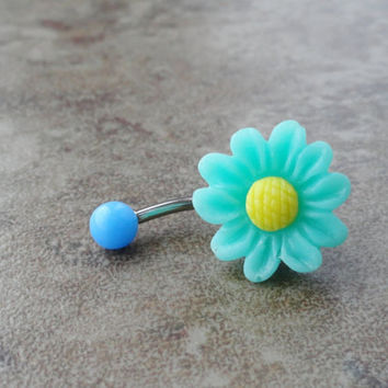 Sea Foam Green Daisy Flower Belly Button Ring Jewelry Chrysanthemum