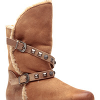 Tan Faux Suede Studded Ankle Boots