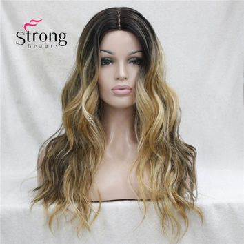 Long Heat Resistant Dark Brown With Golden Blonde Three Tone Ombre Wavy Synthetic Lace Front Long Wig COLOUR CHOICES