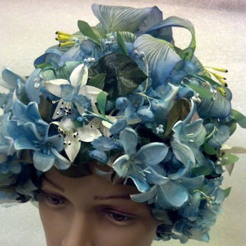 Christian Dior Hat Rare Find Demure Blue Flowers with Lilies 1960's Mid Century Cloche Easter Garden Party Collectible Designer Hat