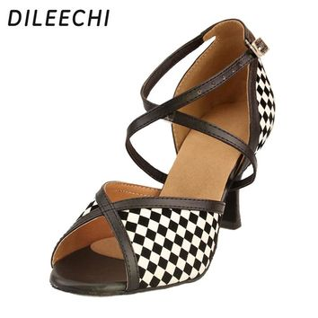 DILEECHI Raider Latin dance shoes dance shoes women's check dance in the high-heeled shoes