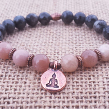 Peach Moonstone Bracelet Buddha Yoga Meditation Bracelet Black Labradorite Bracelet Emotional Support
