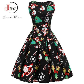 S~3XL Christmas Dress Women Floral Print Slim Vintage Dress Casual Sleeveless Elegant Midi Party Dresses Vestidos Robe