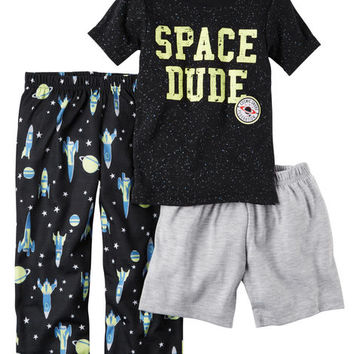 3-Piece Glow-In-The-Dark Cotton & Jersey PJs