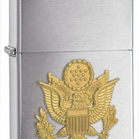 Zippo United States Army Emblem Pocket Lighter, Brushed Chrome