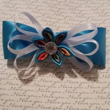 Kanzashi Flower Hair Bow  Barrette in Teal and Tye-Dye. Cheerleader Cheerleading Hair Accessories Hair Accessory Gifts for Her