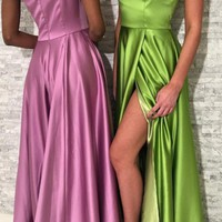 Sexy Simple One Shoulder Long Prom Dress Slit Formal Gowns Cheap Evening Gowns D2224