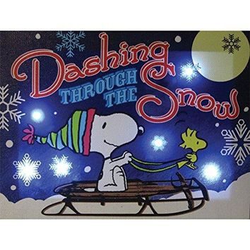 Snoopy and Woodstock Dashing through the Snow 6x8 Lighted Canvas Wall Art