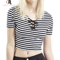 Black White Striped Lace Up Crop Top Women Tees Jersey Short Sleeve Sexy Casual Streetwear T-shirt 2016 Women Clothing