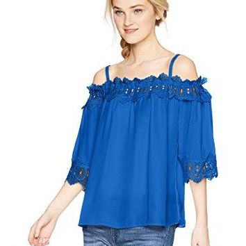 A Byer Womens Off The Shoulder Top with Crochet Trim