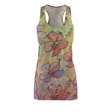 Polynesian Tropical Hibiscus WomenS Cut  Sew Racerback Dress