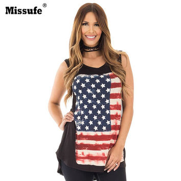 Missufe Flag Printed Irregular T Shirts Off Shoulder Long Shirt For Women 2017 Night Club Party Women's Tops