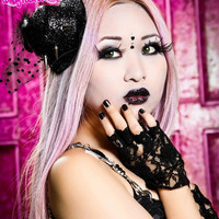 Black Goth Hello-Kitty Veil Spiked Hat