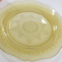 Snowflake Pattern Amber Depression Cake Glass Plate Spoke Pattern Art Deco Glassware Patrician Spoke Pattern glass federal glass