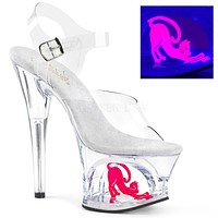 "Moon 708Cat Clear Cut Out Platform Neon Pussy Cat Design 7"" High Heel Shoe"