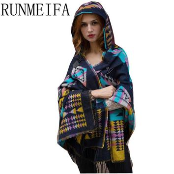 2016 Ladies Warm Winter Hooded Wrap Poncho Wool Blends Lush Cape,Mantle Ponchos And Capes Aztec Outwear Casacos Femininos Tippet