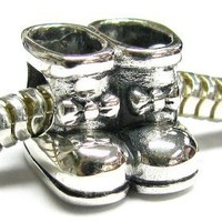 Christmas Gift Sterling silver Little Baby Girl Boot Shoe Ribbon Bead for Pandora European Charm...