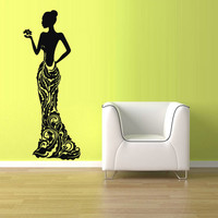 rvz1775 Wall Vinyl Sticker Bedroom Decal Sexy Model Fashion Girl Curly Dress