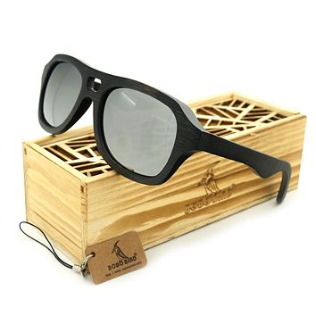 BOBOBIRD G1-4 Brand Creative Design Handmade Polarized Sunglasses Natuer Ebony Wooden Glasses UV400 Goggles With Wooden Box 2017