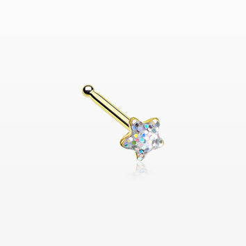 Golden Star Glitter Sparkle Nose Stud Ring