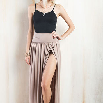 Side to Side Front Slit Maxi Skirt