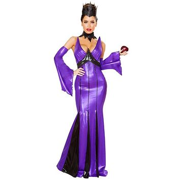Sexy Fairytale Wicked Queen Latex Maxi Dress Halloween Costume