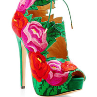 Hibiscus Floral-Embroidered Suede Sandals