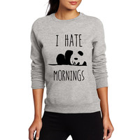 I HATE MORNINGS Kawaii Panda Print Women New Autumn Cute Sweatshirt For Lady