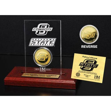 Oklahoma State University 24KT Gold Coin Etched Acrylic