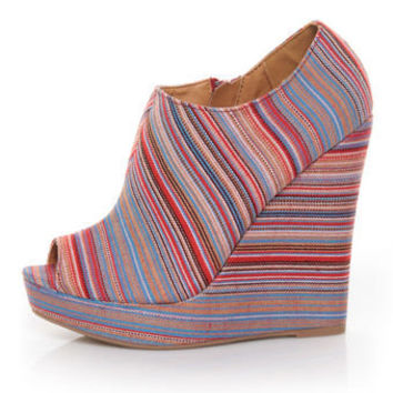 Qupid Enrich 124 Coral Multi Stripe Peep Toe Wedge Booties - $36.00