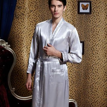 XIFENNI Brand Men Robe Kimono Sexy Satin Silk Bathrobes Fashion Trend Long-Sleeve Sleepwear 2 Colors Embroidery Lounge 20542