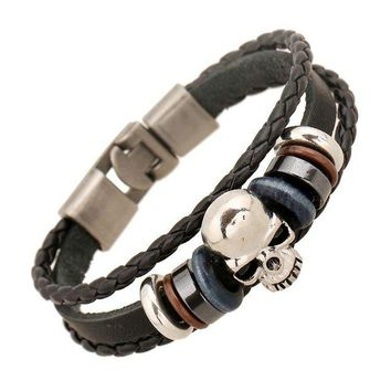 DK7G2 1 PC 2017 New Product Fashion Jewelry Leather Bracelets Men Casual Personality Alloy Vintage Punk Bracelet