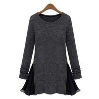 Deep Gray Zippered Long Sleeve Mini Dress