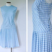 1960s Drop Waist Blue Gingham Shift Dress by FancyThatVintage