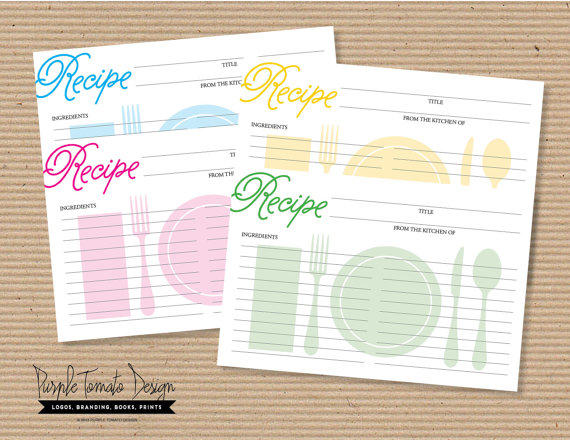Printable Recipe Card DIY. Bridal Shower from Purple Tomato