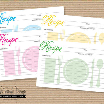 Printable Recipe Card DIY. Bridal Shower Recipe Card. Housewarming gift. Chef gift. Baby Shower gift. Wedding Gift. Instant Download.
