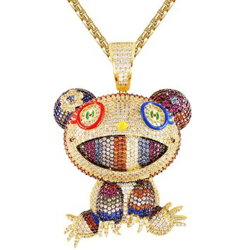Mens Gold Finish Multi Color Icy Teddy Bear Hip Hop Pendant