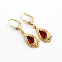 Simulated Garnet Earrings -  Vintage 18k Yellow Rolled Gold Plated 1940s WWII Drops - Red Glass Gold Filled Pierced Dangle Drop Jewelry