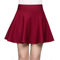 Skirt Women 2016 New Spring Autumn Casual Sexy Women Mini Skirt High Waist Pleated Jersey Skater Skirts Knitted Elastic Skirt