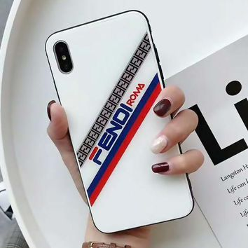 FENDI Fashion Women Men iPhone Phone Cover Case For iphone 6 6s 6plus 6s-plus 7 7plus iPhone X XR XS XS MAX White