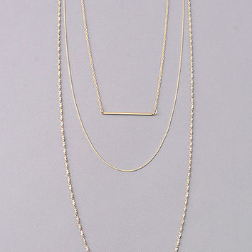 Triple Layer Bar and Chains Necklace - Gold or Silver