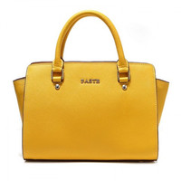 Candy Yellow Genuine Leather Zipper Handbag