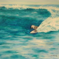Jay Schmetz ORIGINAL OIL Painting 18″ x 24″ African Grey Surfing Lark Art