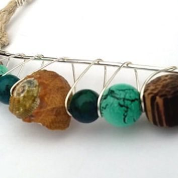 Shell & Wood Turquoise Beaded Wire Crescent Hemp Necklace
