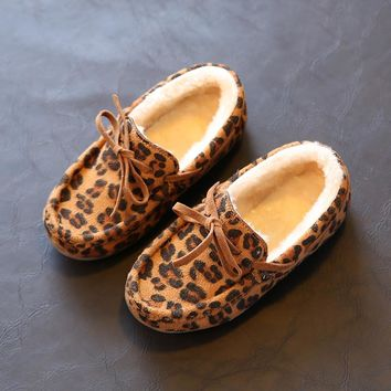 Children Cotton-Padded Shoes Home Slipper Kids Baby Winter Slipper Child Girls/Boys Plus Velvet Moccasins Indoor Warming Shoes