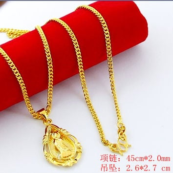 24K GP Gold Plated Necklace Mens Women Yellow Gold Golden Jewelry Necklace YHDN 23 MP