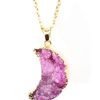 Pink Crescent Moon Druzy Necklace