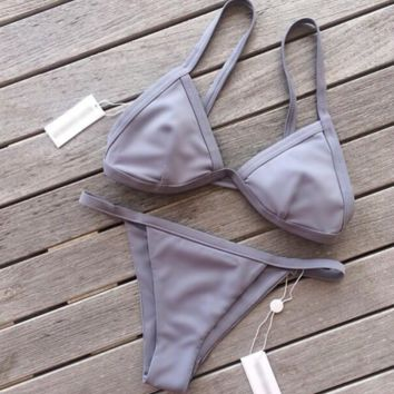 Pure Gray color two piece bikini swimsuit