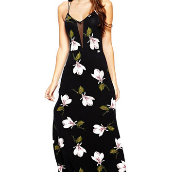 Floral Spaghetti Straps Side Slit Dress